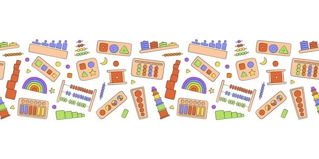 Juguetes infantiles dibujados a mano para juegos montessori.