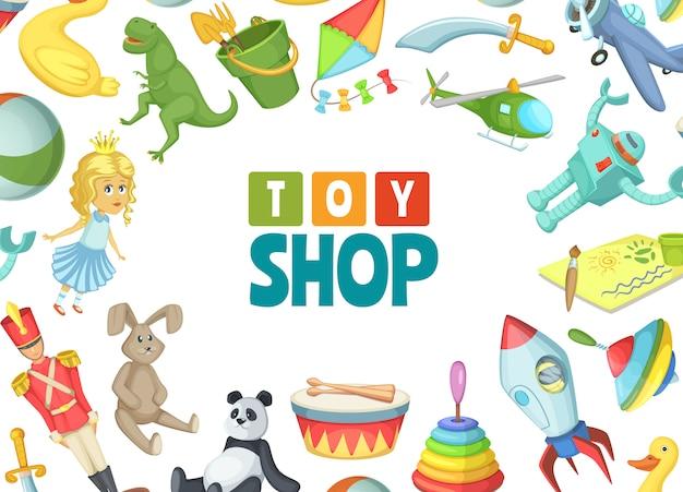 Juguetes infantiles de dibujos animados con lugar para ilustración de texto
