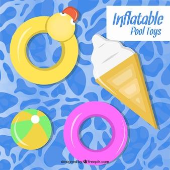 Juguetes inflables en la piscina