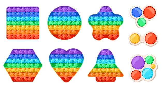 Los juguetes inquietos relajantes de moda lo hacen estallar y un simple hoyuelo. juguete para niños de dibujos animados con burbujas sensoriales. juego de vectores de formas de arco iris antiestrés. juguete de silicona para educación y relajación.