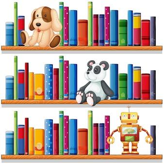 Juguetes y libros en los estantes.