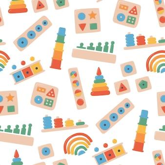 Juguetes de madera para niños para juegos montessori. juguetes de lógica educativa para niños en edad preescolar. sistema montessori para el desarrollo de la primera infancia. clasificadores multicolores. patrón sin costuras sobre fondo blanco
