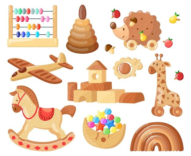 Juguetes de madera vintage para niños para juegos y entretenimiento infantiles.