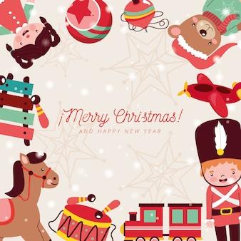 Juguetes de navidad enmarcan muñeco de peluche soldadito de plomo y tren. tarjeta de navidad