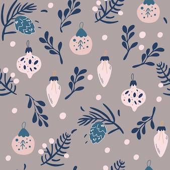 Juguetes de navidad y ramitas de patrones sin fisuras. feliz año nuevo fondo con cono de abeto, hojas de acebo y bayas. ilustración de sorteo de mano de vector lindo para tela, papel de regalo, diseño de postal.