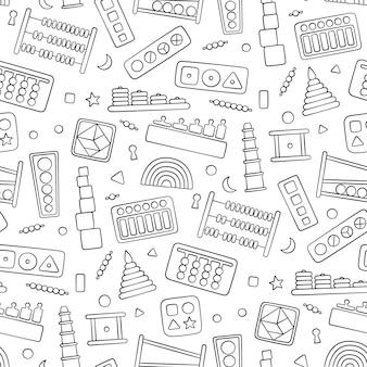 Juguetes para niños dibujados a mano para juegos montessori. juguetes de lógica educativa para niños en edad preescolar.