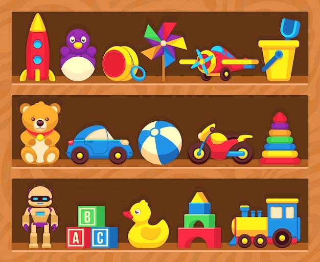Juguetes para niños en estanterías de madera.
