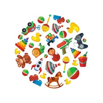 Juguetes para niños en forma de círculo.
