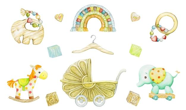 Juguetes para niños en una ilustración de estilo ecológico.