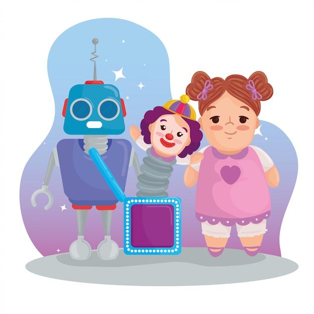 Juguetes para niños, linda muñeca con payaso en caja y robot.