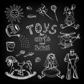 Juguetes de pizarra dibujados a mano para niñas y niños