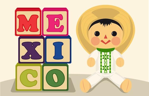 Juguetes tradicionales mexicanos con muñeca y cubos