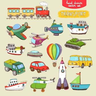 Juguetes de transporte de vectores: tren, avión, coche, barco