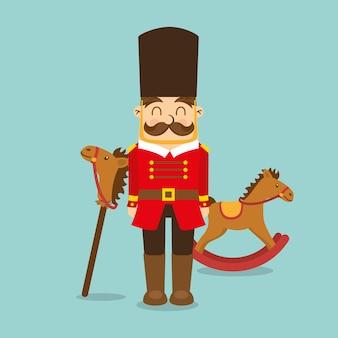 Juguetes vintage para niños iconos de madera de caballo de soldado