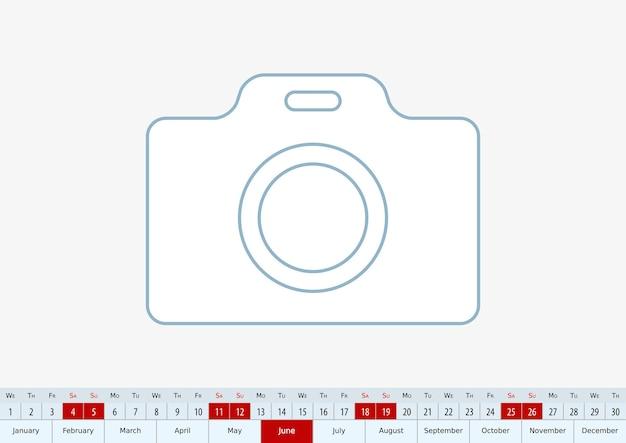 Junio de 2022 para el calendario de escritorio. plantilla de vector.