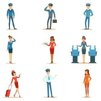 Junta de vuelo comercial tripulación colección de profesionales del transporte aéreo que trabajan en el avión