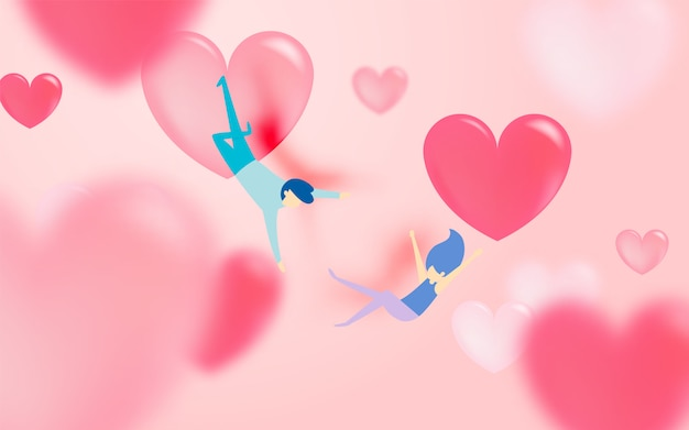 Junte enamorarse con mucho fondo del corazón y color romántico en colores pastel vector ilustración