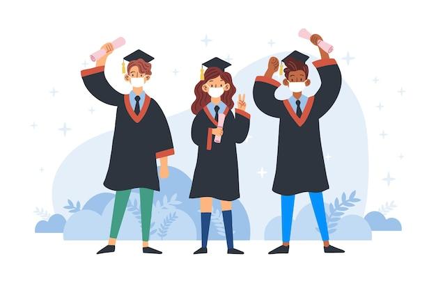 Juntos estudiantes graduados y con máscaras médicas