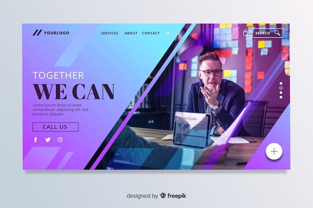 Juntos podemos la página de inicio de negocios con foto