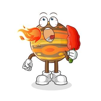 Júpiter comiendo ilustración de chile picante