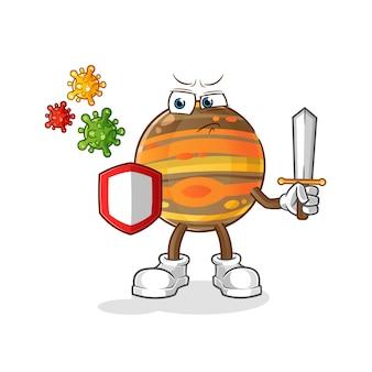 Júpiter contra dibujos animados de virus