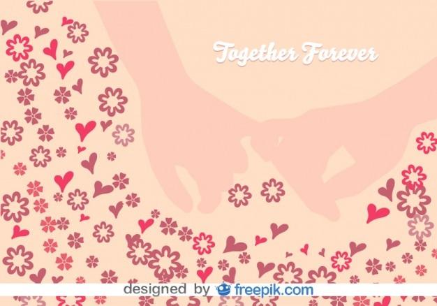 Juramento de amor con el dedo meñique entre flores y corazones en ilustración vectorial