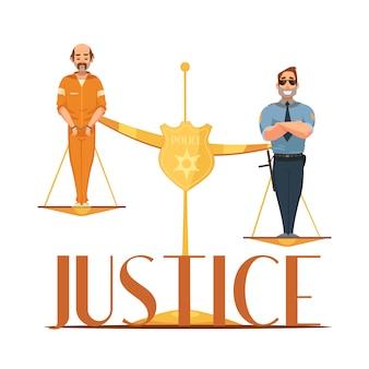 Jurisdicción de leyes y composición simbólica de la escala de justicia con convicto y policía.