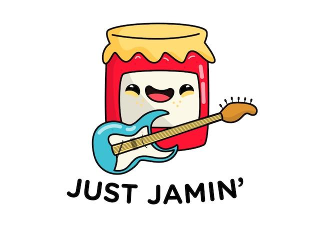 Just jamin character pun con strawberry jam tocando la guitarra
