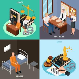 Justicia de la justicia 4 composiciones de concepto isométrico con investigación convicto ilustración de accesorios de procedimientos de corte de celda de prisión
