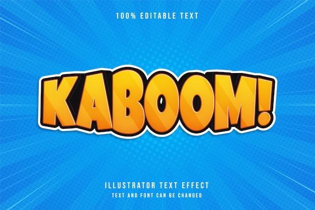 Kaboom !, efecto de texto editable en 3d moderno estilo de texto cómico de gradación amarilla naranja púrpura