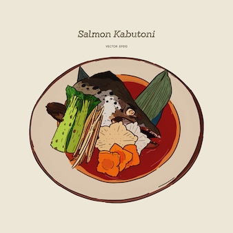 Kabutoni de salmón al vapor. cabezal de salmón estilo comida japonesa cocido en salsa de soja con verduras y tofu.hand dibujar vector
