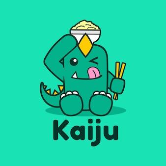 Kaiju japonés comiendo tazón mascota logo design