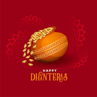 Kalash con monedas de oro tarjeta feliz festival de dhanteras