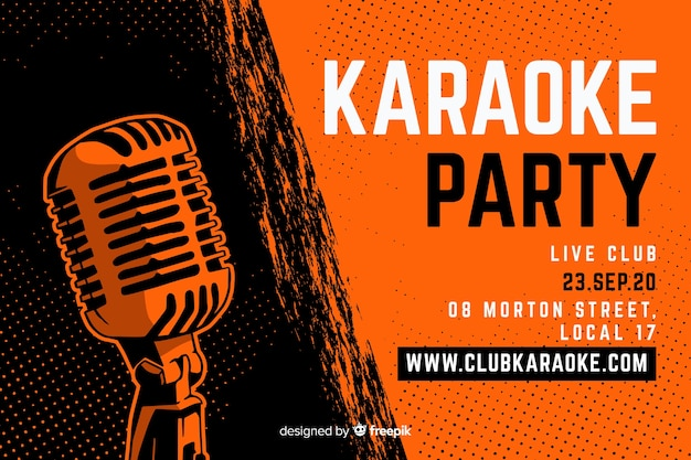 Karaoke banner plantilla dibujado a mano micrófono