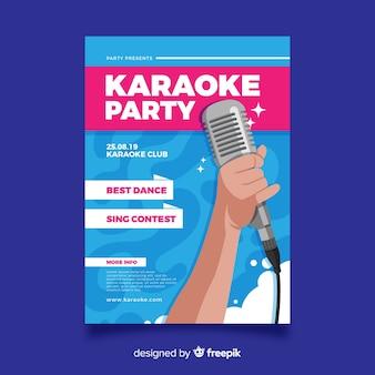 Karaoke cartel plantilla diseño plano