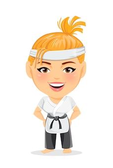 Karate mujer en kimono