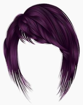 Kare de pelos de mujer de moda con flecos. colores morados. longitud media .. 3d realista. morena.