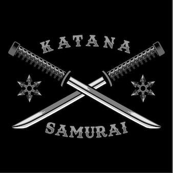 Katana cross samurai arma ilustración vectorial