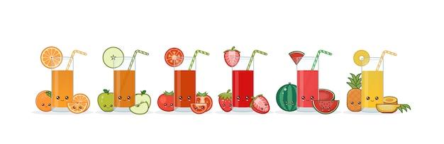 Kawai lindo sonriente dibujos animados zumo de frutas.