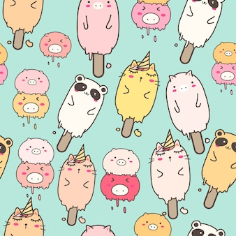 Kawaii animal helado de patrones sin fisuras para envolver el diseño de papel.
