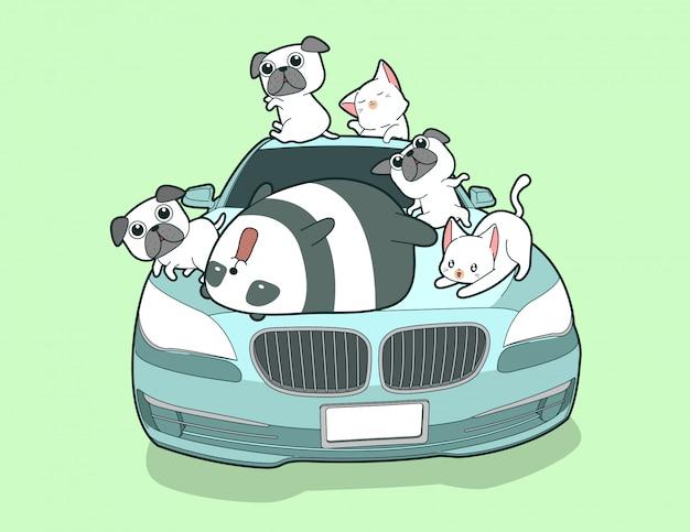 Kawaii animales y auto azul en estilo de dibujos animados.