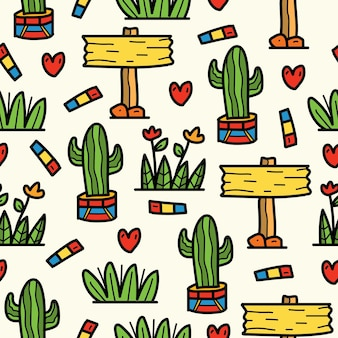 Kawaii, árbol, cactus, garabato, caricatura, patrón, diseño