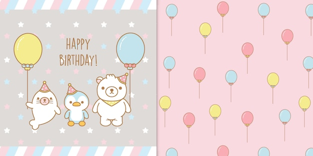 Kawaii bebé animales feliz cumpleaños tarjeta de felicitación y patrones sin fisuras