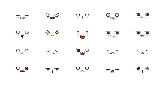 Kawaii caras lindas sonríen emoticones. emoji japonés