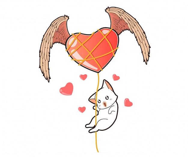 Kawaii cat está volando a través del ala del corazón