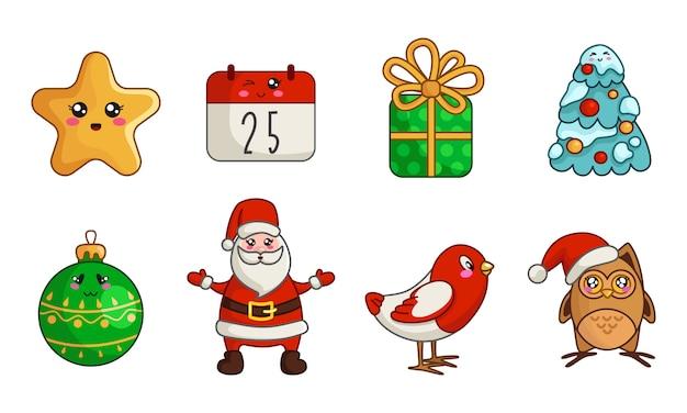 Kawaii christmas set of new year owl, bird, santa claus, calendar, gift box, christmas tree