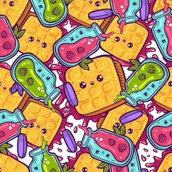 Kawaii coloridos waffles y mermelada de patrones sin fisuras. carácter dulce del doodle del estilo de dibujos animados. tienda de caramelos de icono de cara emocional. ilustración dibujada a mano aislada sobre fondo blanco