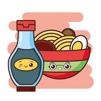 Kawaii comida rápida linda comida asiática ilustración
