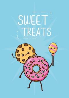 Kawaii comida rápida linda galleta y donut ilustración