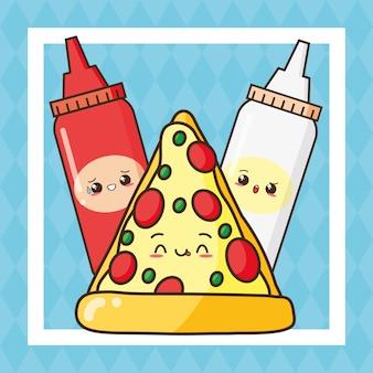 Kawaii comida rápida linda pizza y salsas ilustración